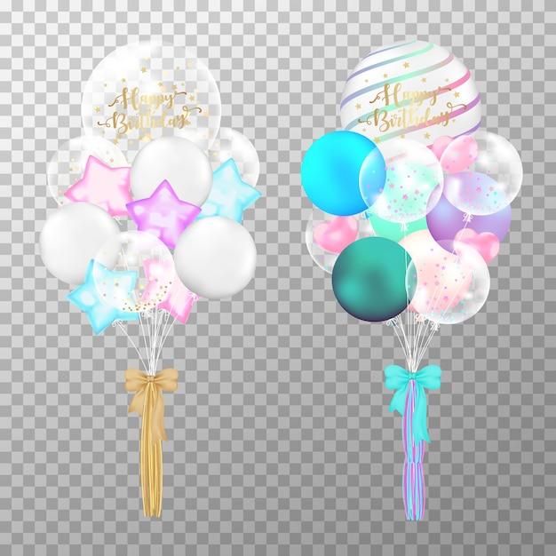 Aniversário dos balões colorido no fundo transparente. Vetor Premium