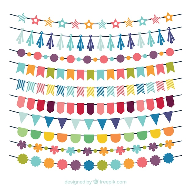 Aniversário multicolor garland coleção Vetor grátis