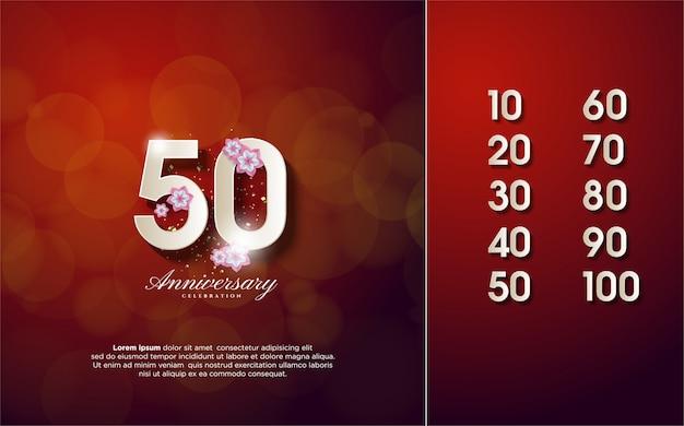 Aniversário número 10-100 com ilustrações de flores e números brancos Vetor Premium
