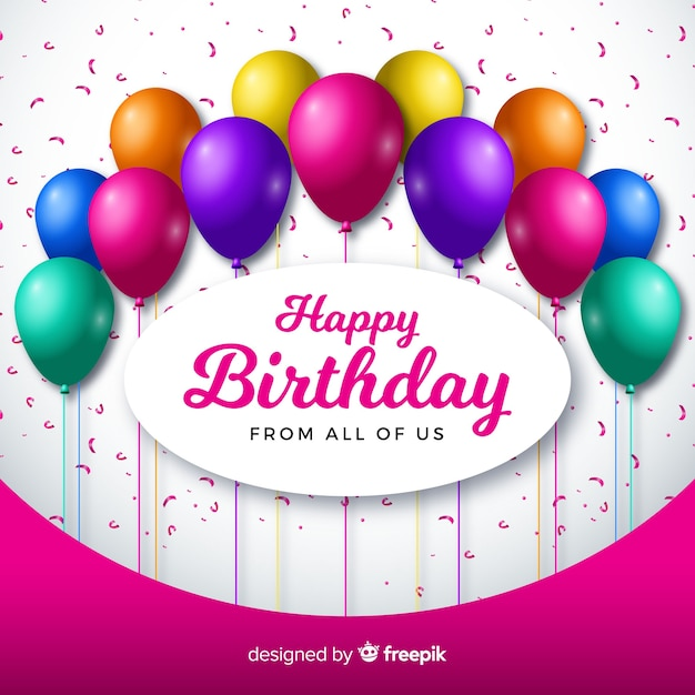 Aniversário realista com fundo de balões Vetor grátis