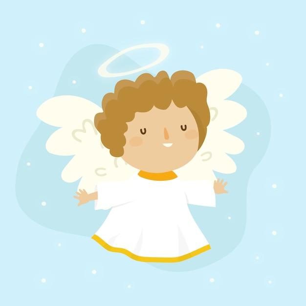 Anjo adorável de mão desenhada natal Vetor grátis