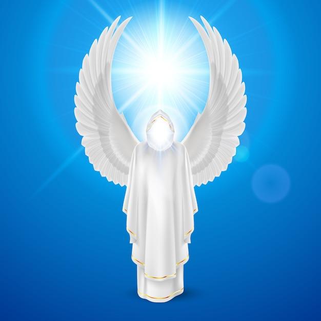 Anjo da guarda deuses em vestido branco com asas contra o fundo do céu e o reflexo do sol brilhante. conceito religioso Vetor Premium