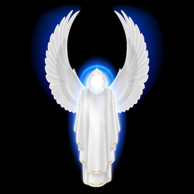 Anjo da guarda dos deuses no vestido branco com esplendor azul no fundo preto. imagem de arcanjos. conceito religioso Vetor Premium