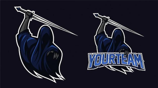 Anjo da morte segurando espada com dedo apontando design do logotipo da mascote Vetor Premium