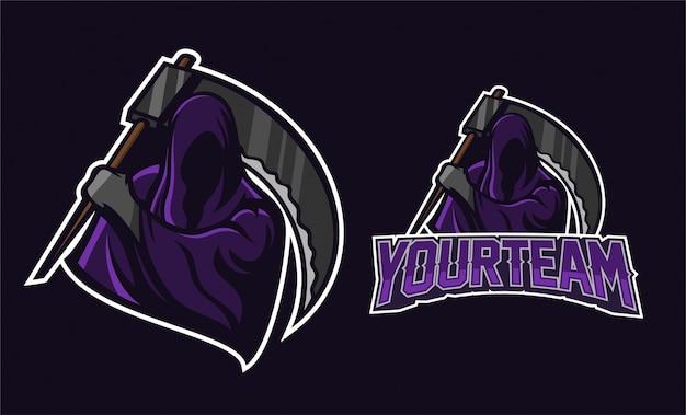 Anjo da morte segurando scythe mascote logotipo design Vetor Premium