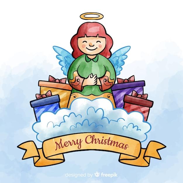 Anjo de natal em aquarela com fundo de presentes Vetor grátis