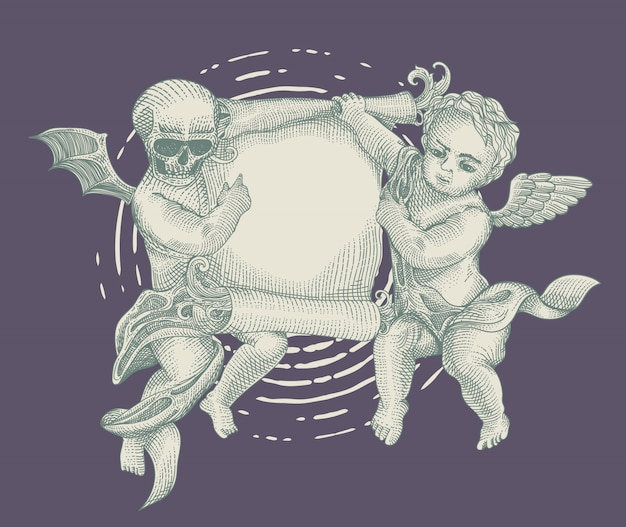 Anjo e demônio com papel vintage Vetor Premium
