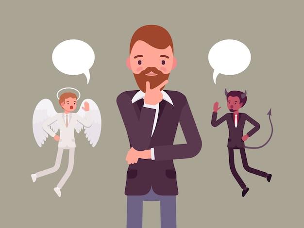 Anjo e demônio pairando sobre um homem que pensa Vetor Premium