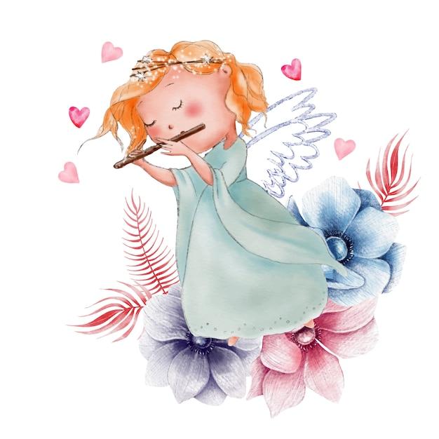Anjo em aquarela bonito dos desenhos animados para dia dos namorados Vetor Premium