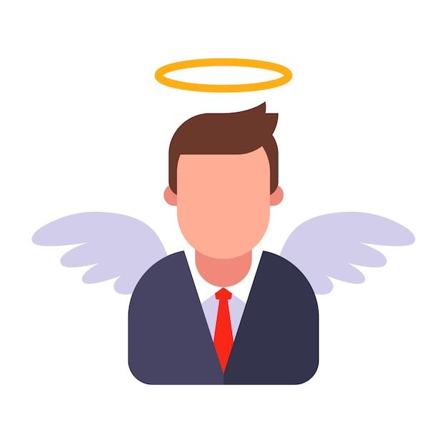 Anjo masculino em um terno de negócio. ilustração plana. Vetor Premium