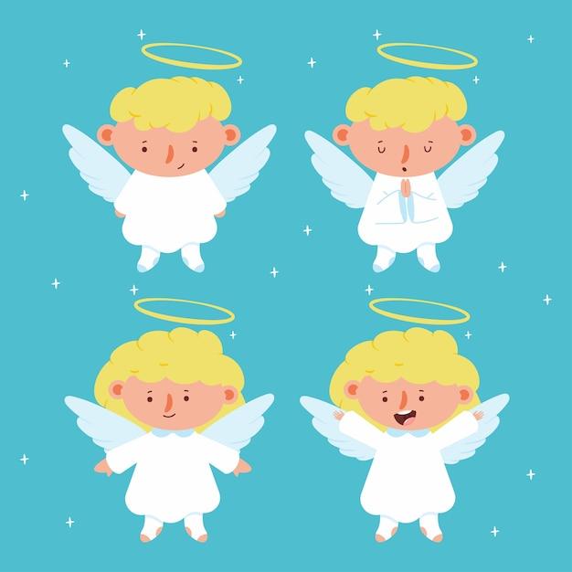 Anjos de natal bonitos com asas e caracteres halo em segundo plano. Vetor Premium