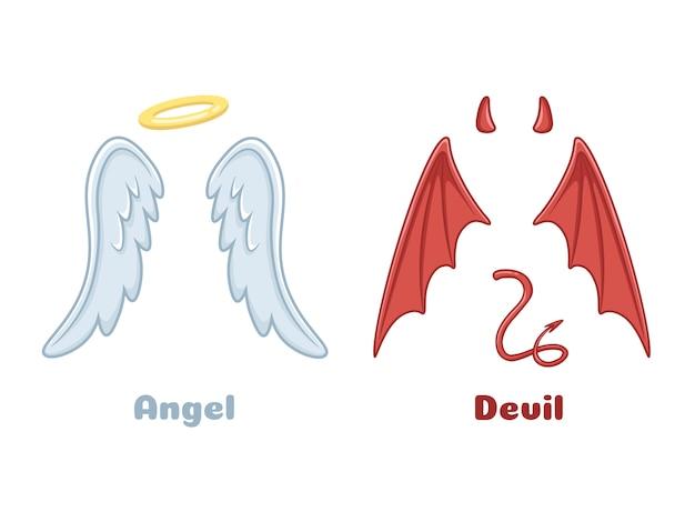 Anjos e asas de demônios. Vetor Premium
