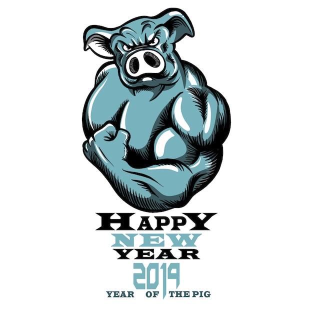 Ano chinês do sinal do zodíaco de porco, ilustração do vetor de um porco saudável forte com grande bíceps. Vetor Premium