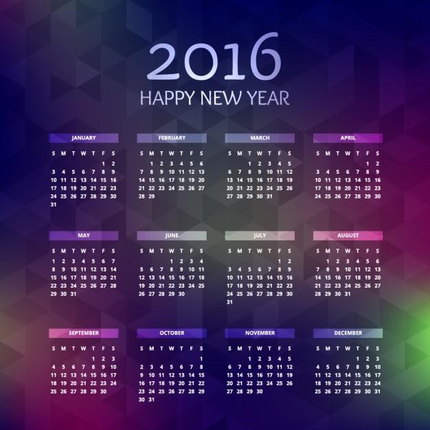Ano novo 2016 do calendário Vetor grátis
