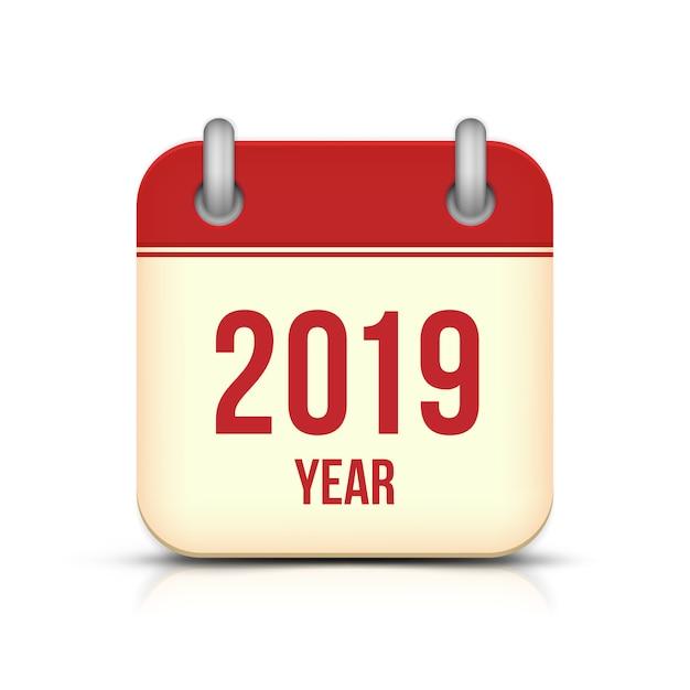 Ano novo 2019 calendário vector ícone Vetor Premium