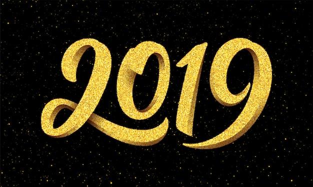 Ano novo 2019 cartão com caligrafia Vetor Premium