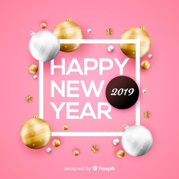 Ano novo 2019 com fundo de bolas de ouro Vetor grátis