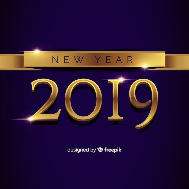 Ano novo, 2019, composição, com, dourado, estilo Vetor grátis