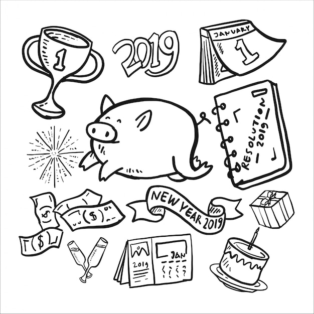 Ano novo 2019 doodle icon set Vetor Premium
