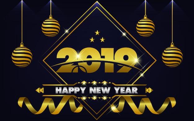 Ano novo 2019 fundo com ouro claro Vetor Premium