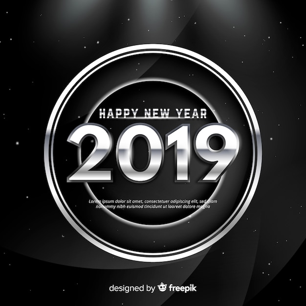 Ano novo, 2019, fundo Vetor grátis