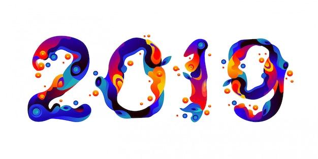 Ano novo 2019 líquido e líquido colorido faíscas tipografia Vetor Premium