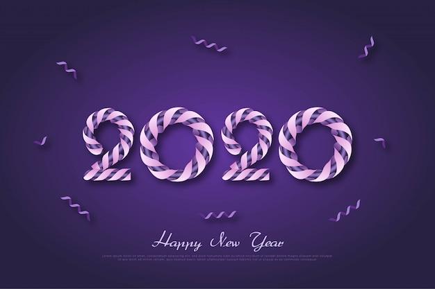 Ano novo 2020 aniversário fundo com fita roxa Vetor Premium