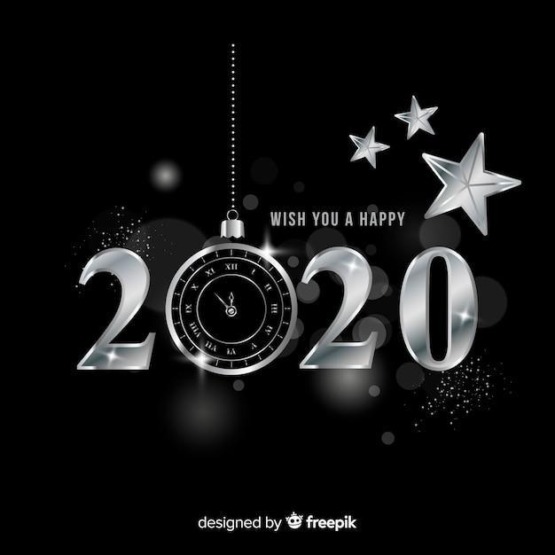 Ano novo 2020 em estilo prateado Vetor grátis