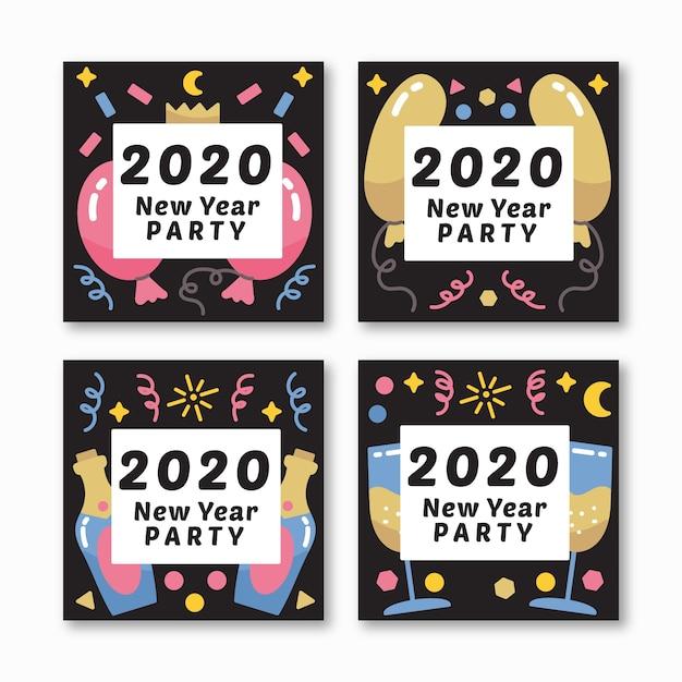 Ano novo 2020 festa instagram post set Vetor grátis