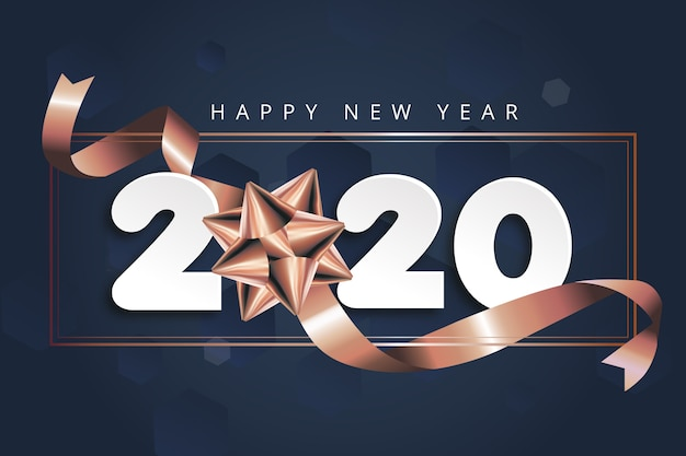 Ano novo 2020 fundo com laço Vetor grátis