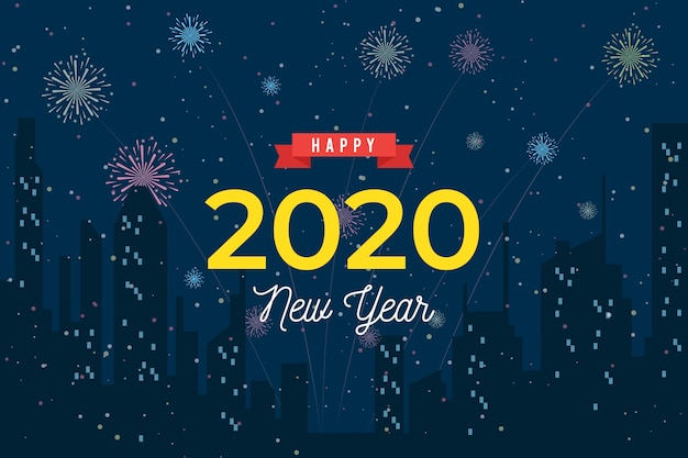 Ano novo 2020 fundo em design plano Vetor grátis