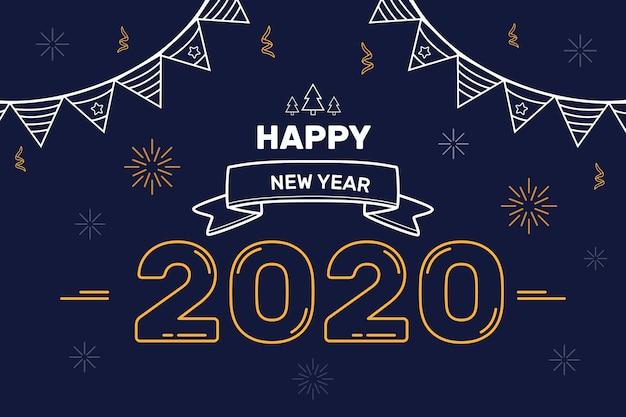 Ano novo 2020 fundo no estilo de estrutura de tópicos Vetor grátis