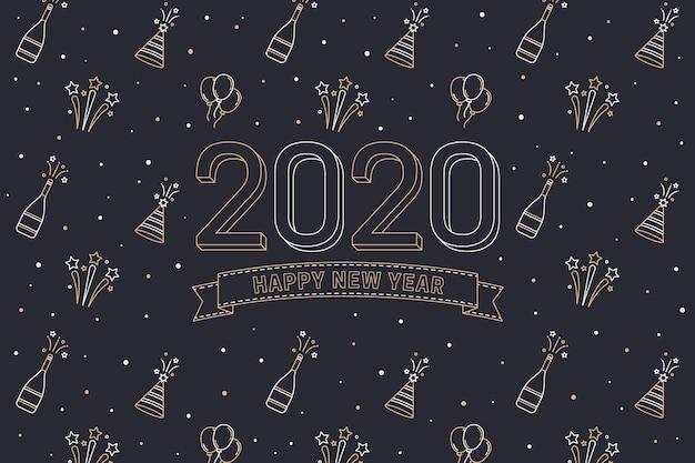 Ano novo 2020 fundo Vetor grátis