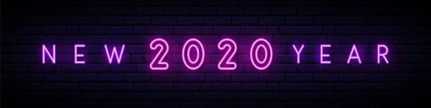 Ano novo 2020 sinal de néon. Vetor Premium
