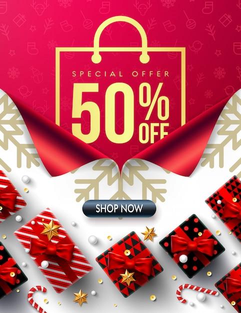 Ano novo 50% de desconto em promoção de promoção poster ou banner Vetor Premium