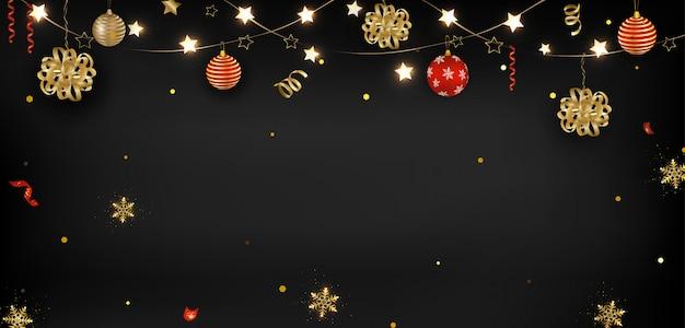 Ano novo chinês 2020. bolas de natal, lanternas, serpentina, confete, brilhos. Vetor Premium