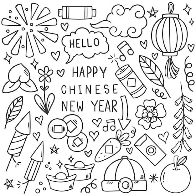 Ano novo chinês com estilo doodle de ícone Vetor grátis