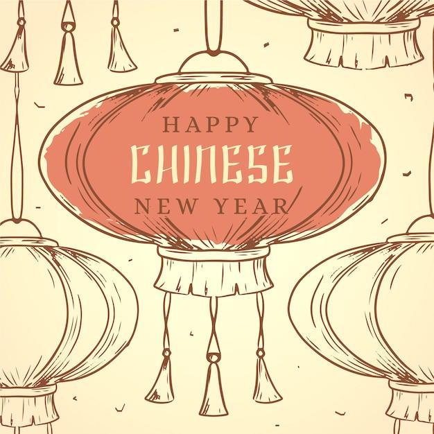 Ano novo chinês de mão desenhada Vetor grátis