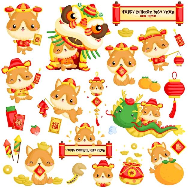 Ano novo chinês do ano novo Vetor Premium