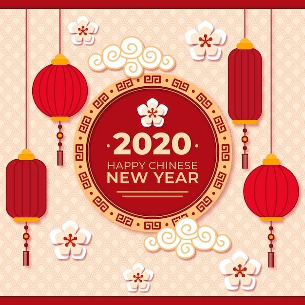 Ano novo chinês em estilo de jornal Vetor grátis