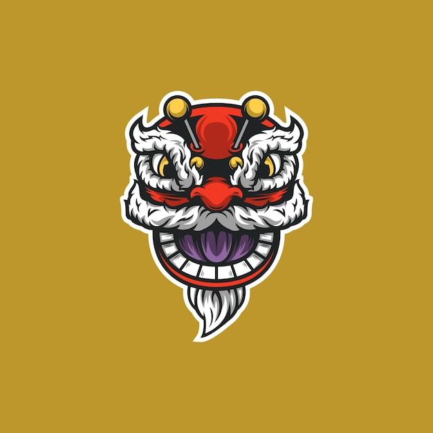 Ano novo chinês ilustração de cabeça de dragão Vetor Premium