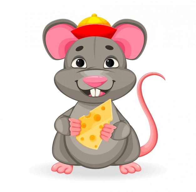 Ano novo chinês. rato engraçado Vetor Premium