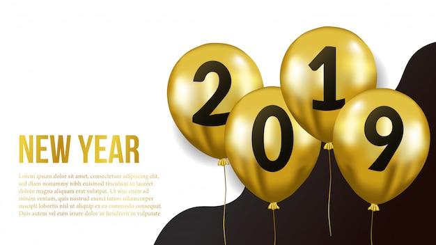 Ano novo com balão de ouro Vetor Premium