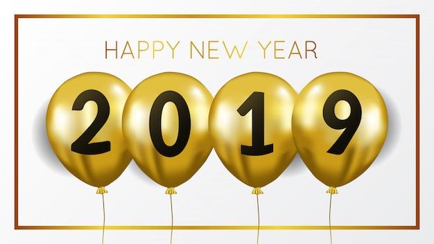 Ano novo com hélio voador de ouro Vetor Premium