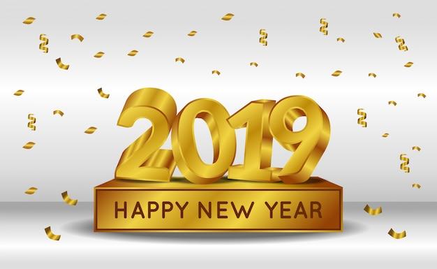 Ano novo com número de ouro 3d Vetor Premium