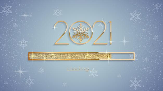 Ano novo de 2021 com barra de progresso de carregamento brilhante brilhante, glitter dourado e brilhos premium vector Vetor Premium