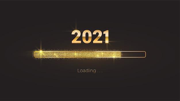 Ano novo de 2021 com barra de progresso de carregamento brilhante e brilhante, glitter dourado e brilhos Vetor Premium
