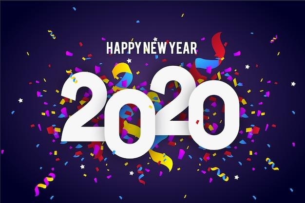 Ano novo de confetes de fundo Vetor grátis
