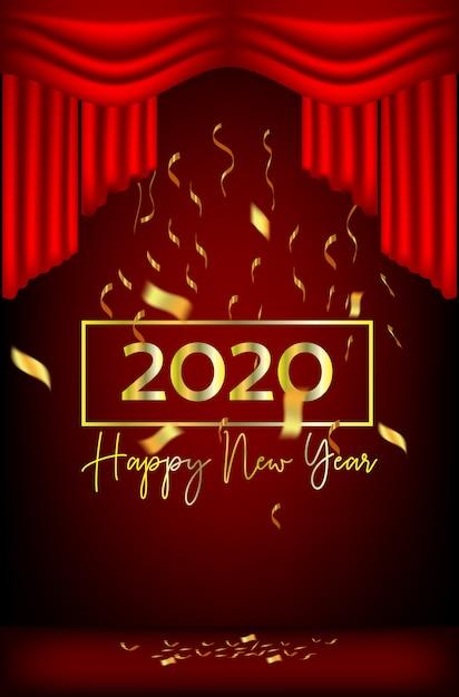 Ano novo design fitas e cortinas vermelhas Vetor Premium