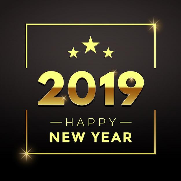 Ano novo dourado com fundo preto Vetor Premium
